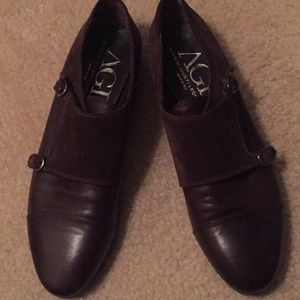 AGL brown leather and suede monk strap slip on